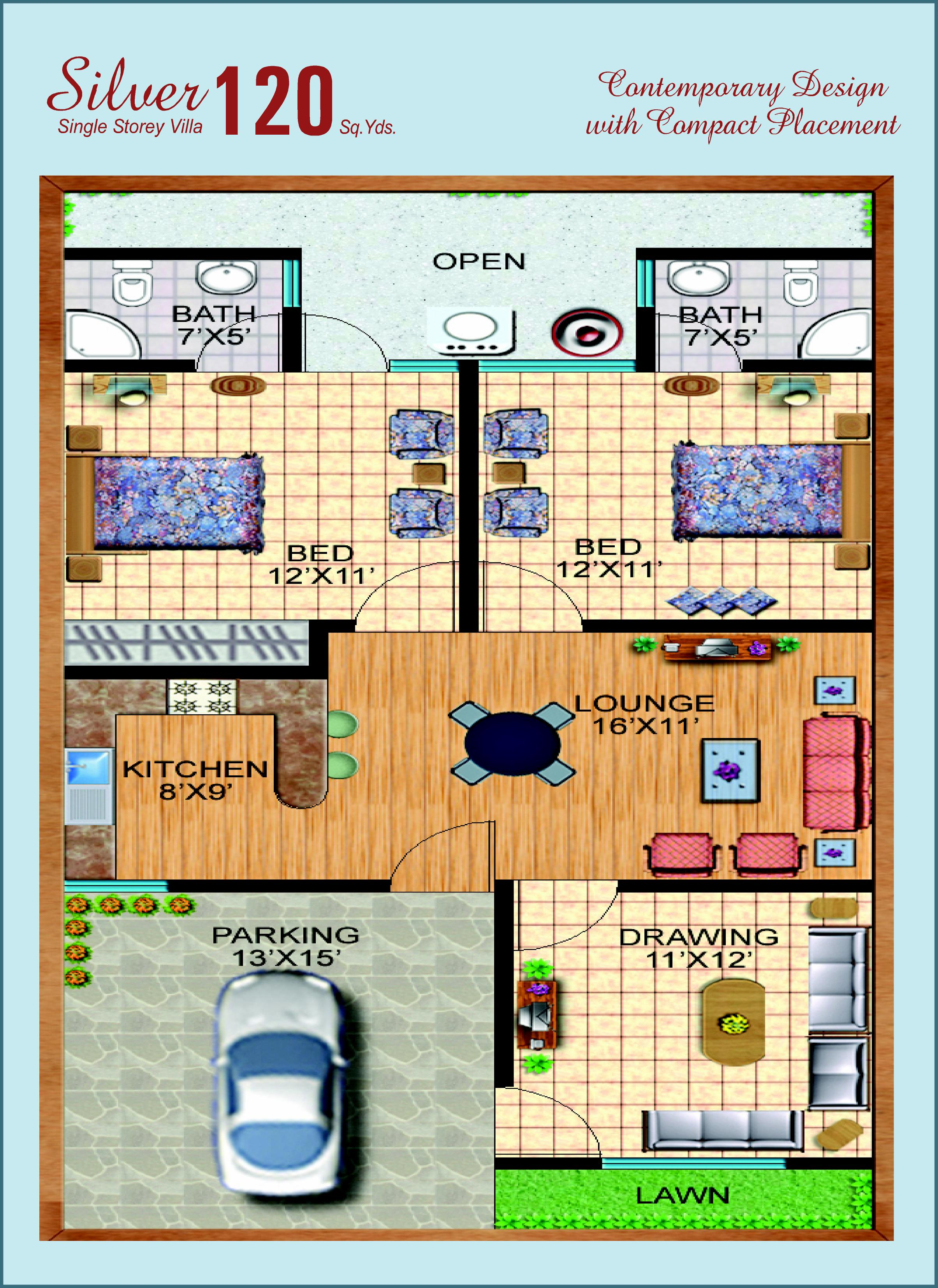Front Elevation 120 Yards : Yards house plan design plans