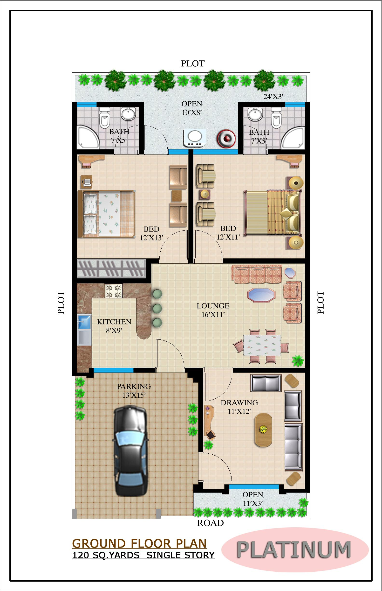 Our projects noman builders karachi pakistan for Single storey house floor plan